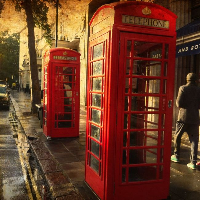 London Lifestyle Red Telephone Booth Pay Phone Telephone Communication City One Person One Man Only