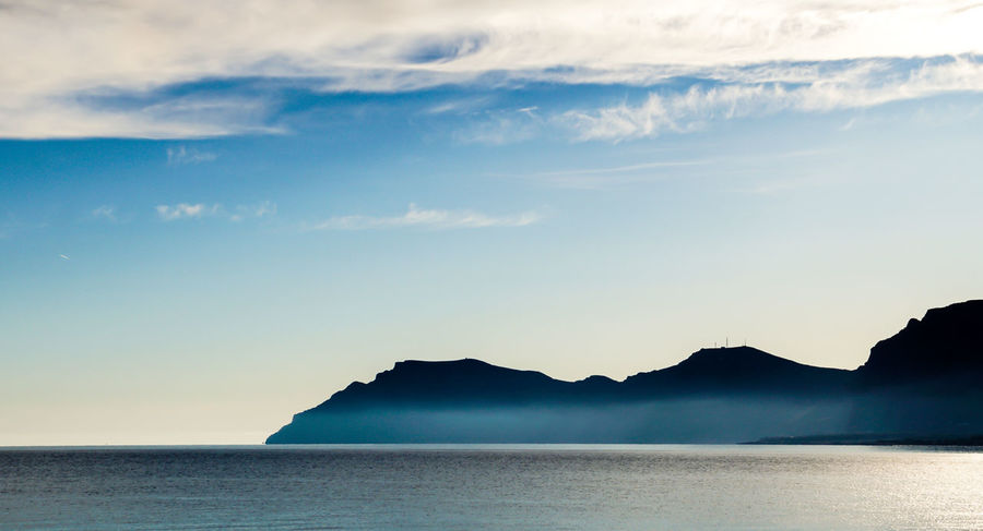 Krull&Krull Images Mallorca Beauty In Nature Blue Cloud - Sky Clouds And Sky Day Dust Horizon Over Water Mallorca Misty Misty Morning Mountain Nature No People Outdoors Scenics Sea Silhouette Sky Son Serra De Marina The Great Outdoors - 2017 EyeEm Awards Tranquil Scene Tranquility Water