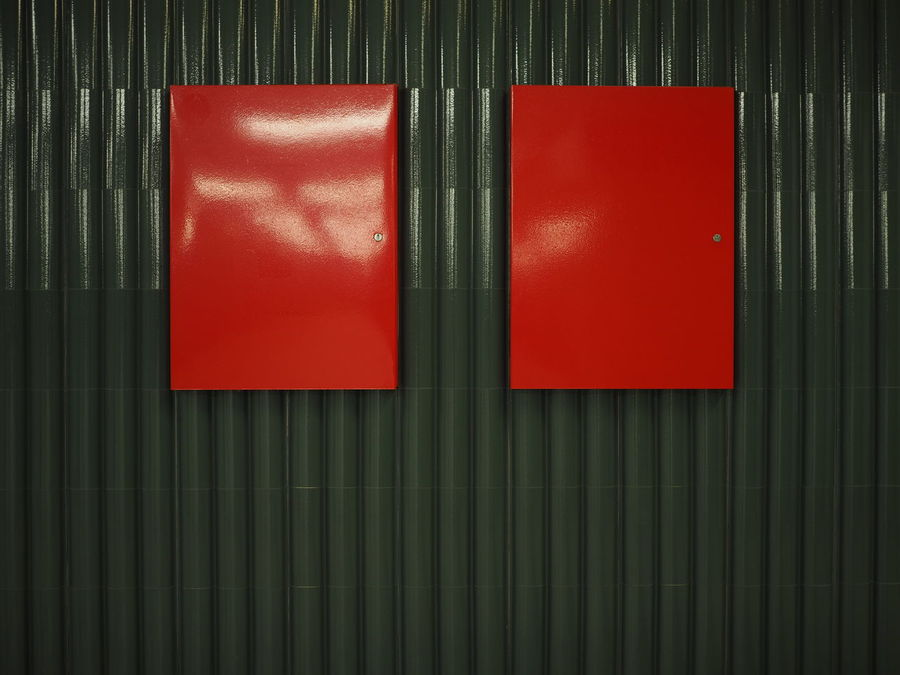 Red Box Red Box Metal Metal Industry Corrugated Iron Corrugated Backgrounds Iron Backgrounds Black Cabinet Metal Container Security Box Metal Structure Metal Wall Green Color No People Black Color Metro Station Station Architecture Alarm Close-up Gift Indoors  Fire