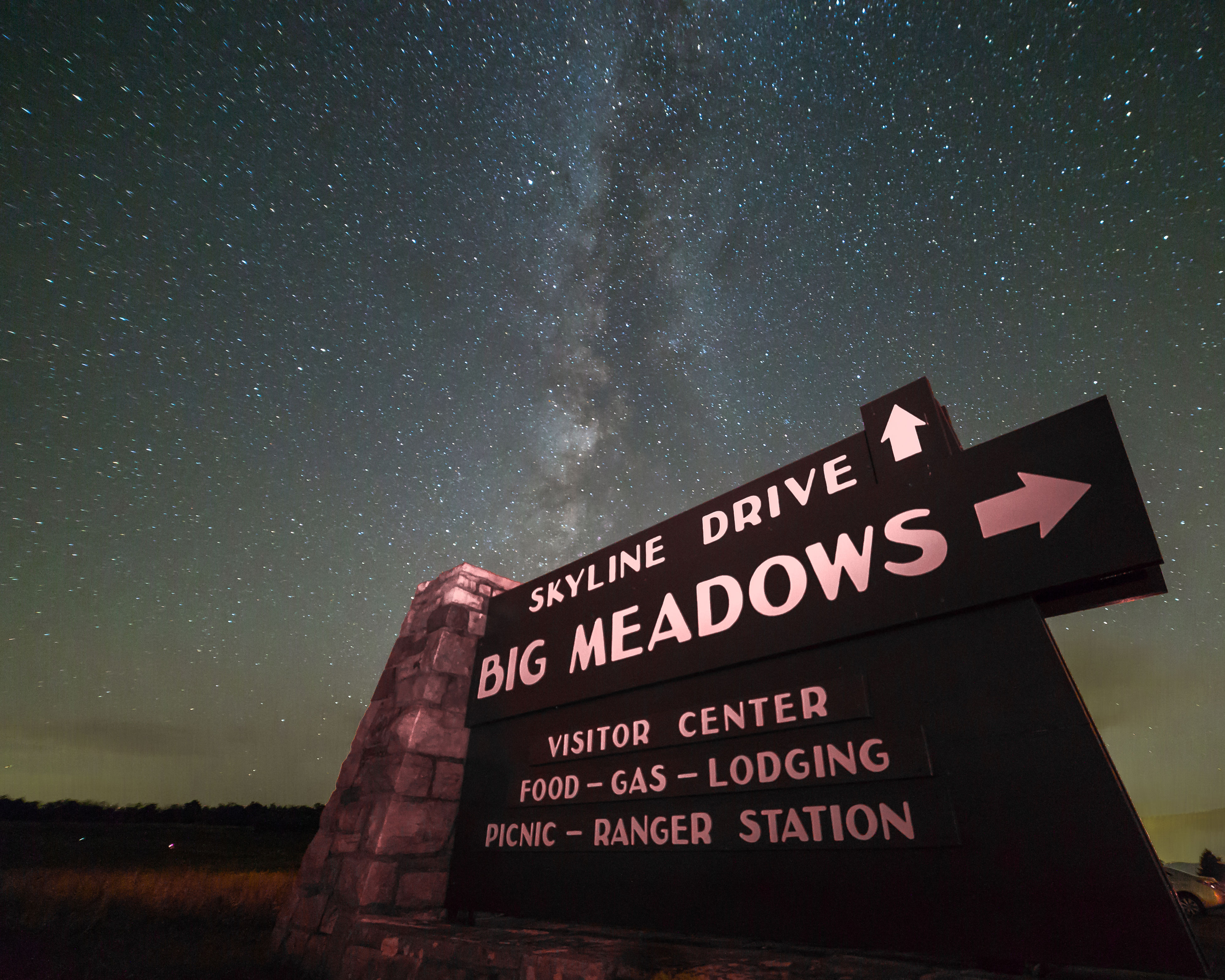 """Sky""-line Drive The Milky Way shines above the road sign pointing the way to Skyline Drive and Big Meadows in Shenandoah National Park Astronomy Astrophotography Galaxy Milky Way National Park Night No People Outdoors Park Shenandoah National Park Sky Space Star - Space Stars Text"