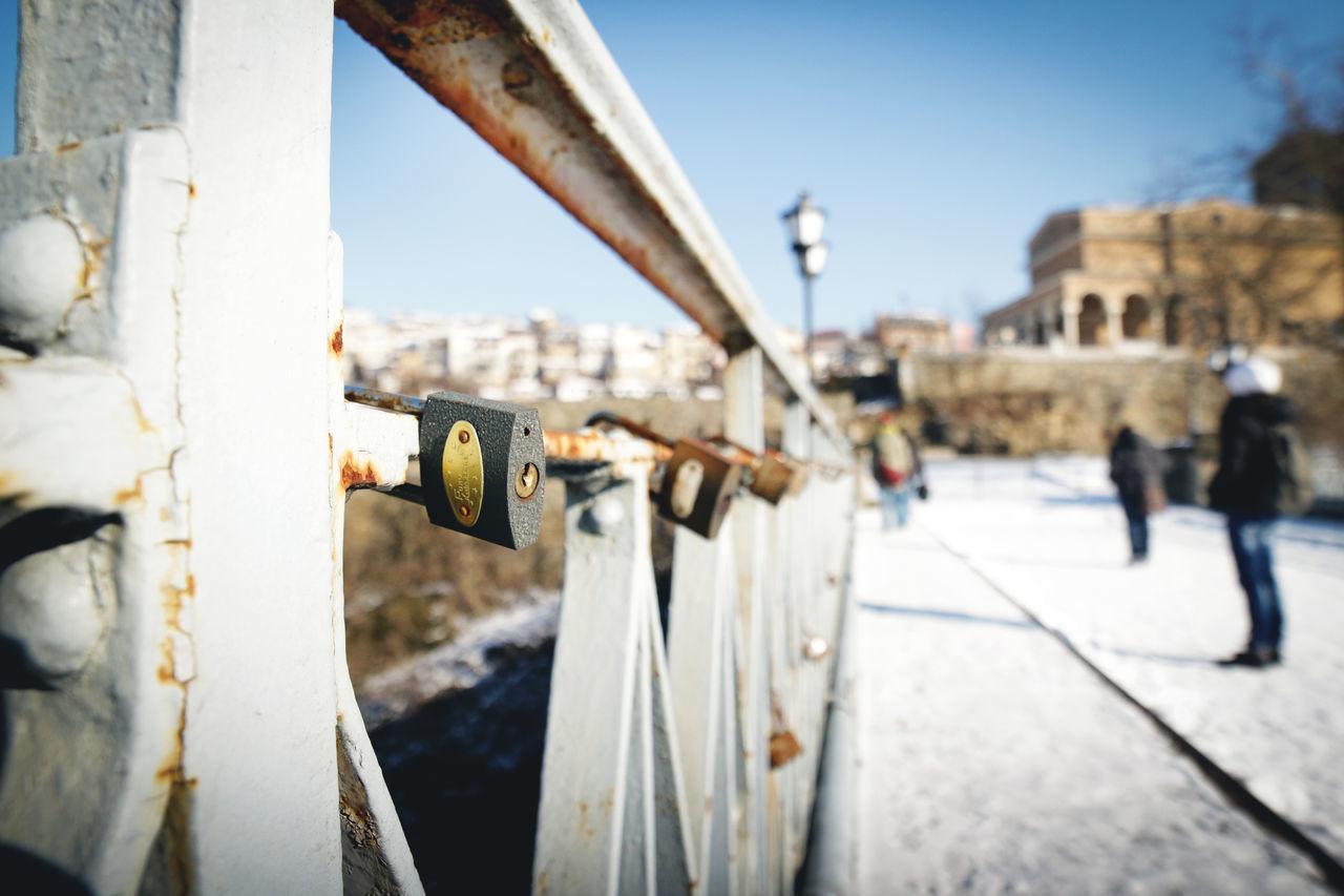 Padlock Architecture Bridge Day Lock Metal Outdoors Padlock Rusty Wide Angle