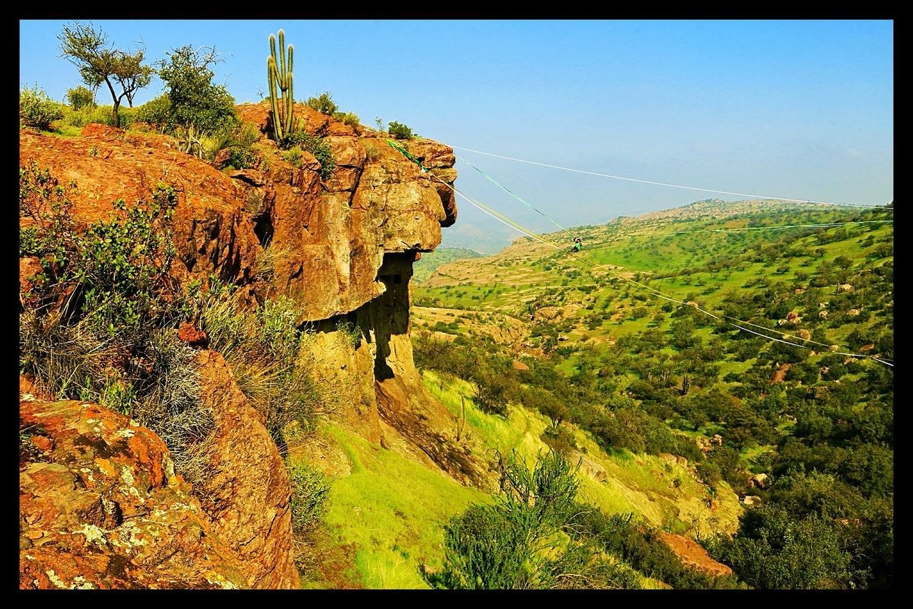 Slackline Rock Panoramic Photography Panoramic Landscape Nature Green Relaxing Walking Bush Colores Cactus Air Tree Simple Things In Life Stone Colors Sport Yellow