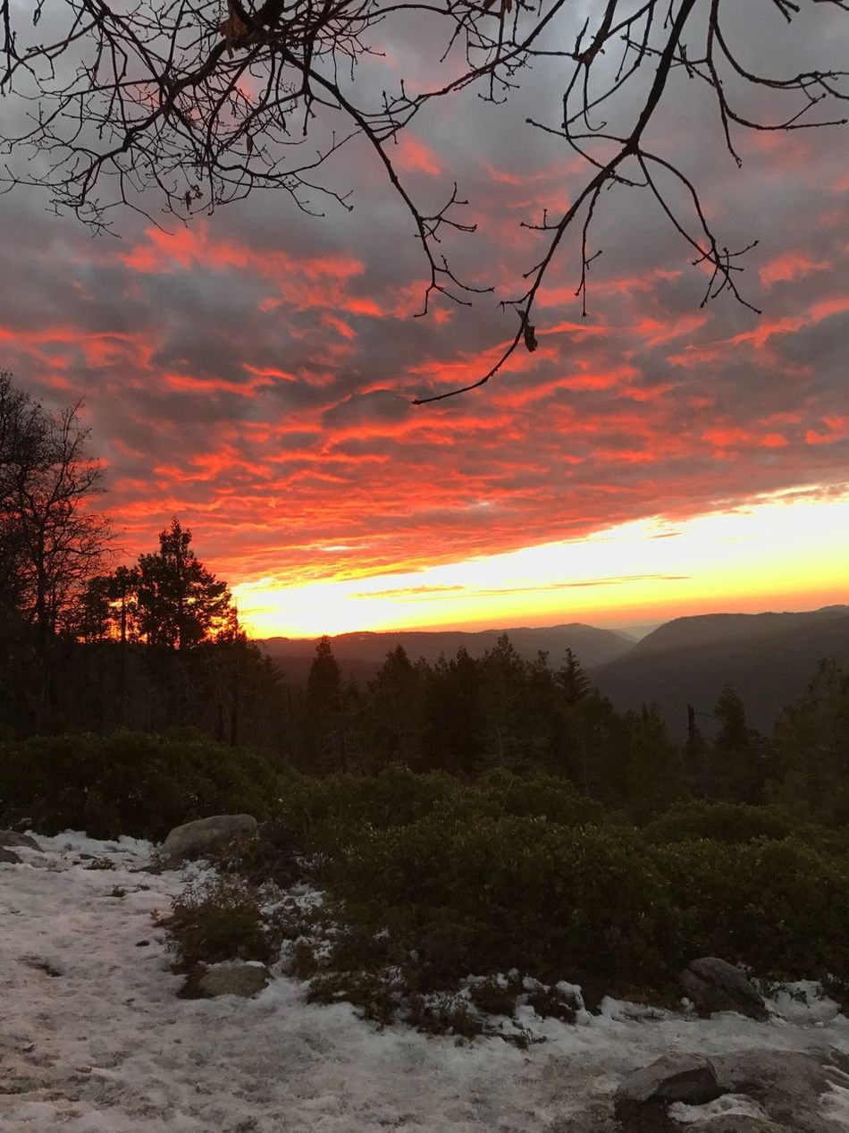 Sunset Beauty In Nature Tree Nature Cloud - Sky Scenics Sky Orange Color Outdoors No People Tranquility Landscape Winter Snow Cold Temperature Water High Sierra Overlook Mountain Range Best Sunrises And Sunsets