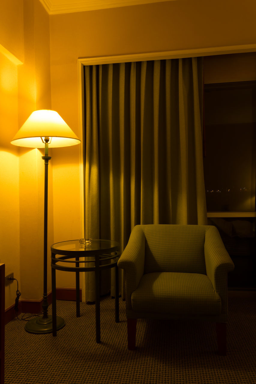illuminated, electric lamp, lighting equipment, indoors, no people, home interior, chair, lamp shade, floor lamp, night