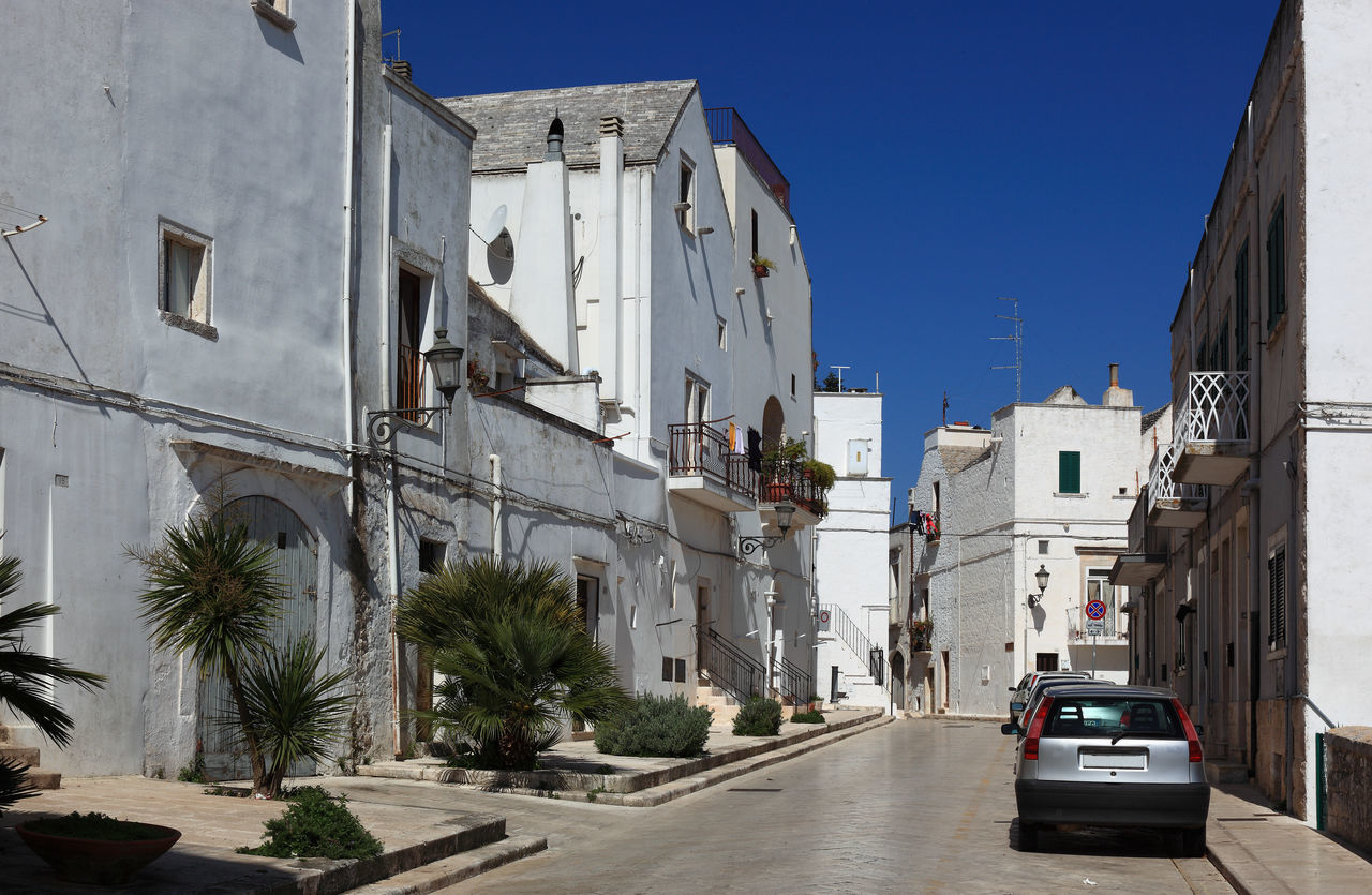 Street in the old town of Locorotondo, Puglia, Italy Architecture Building Exterior City Day Italy Locorotondo No People Outdoors Puglia Sky Street