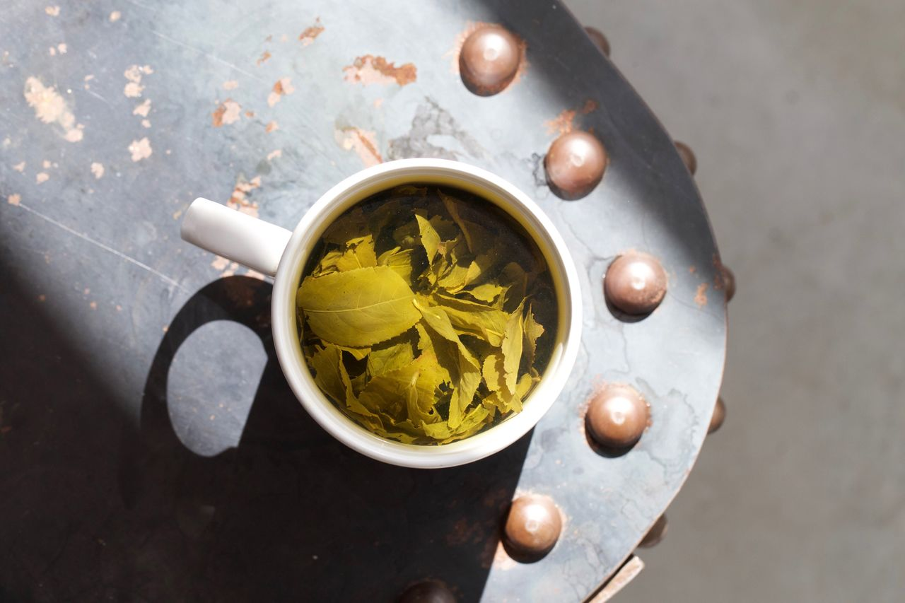 Directly Above Shot Of Herbal Tea On Table