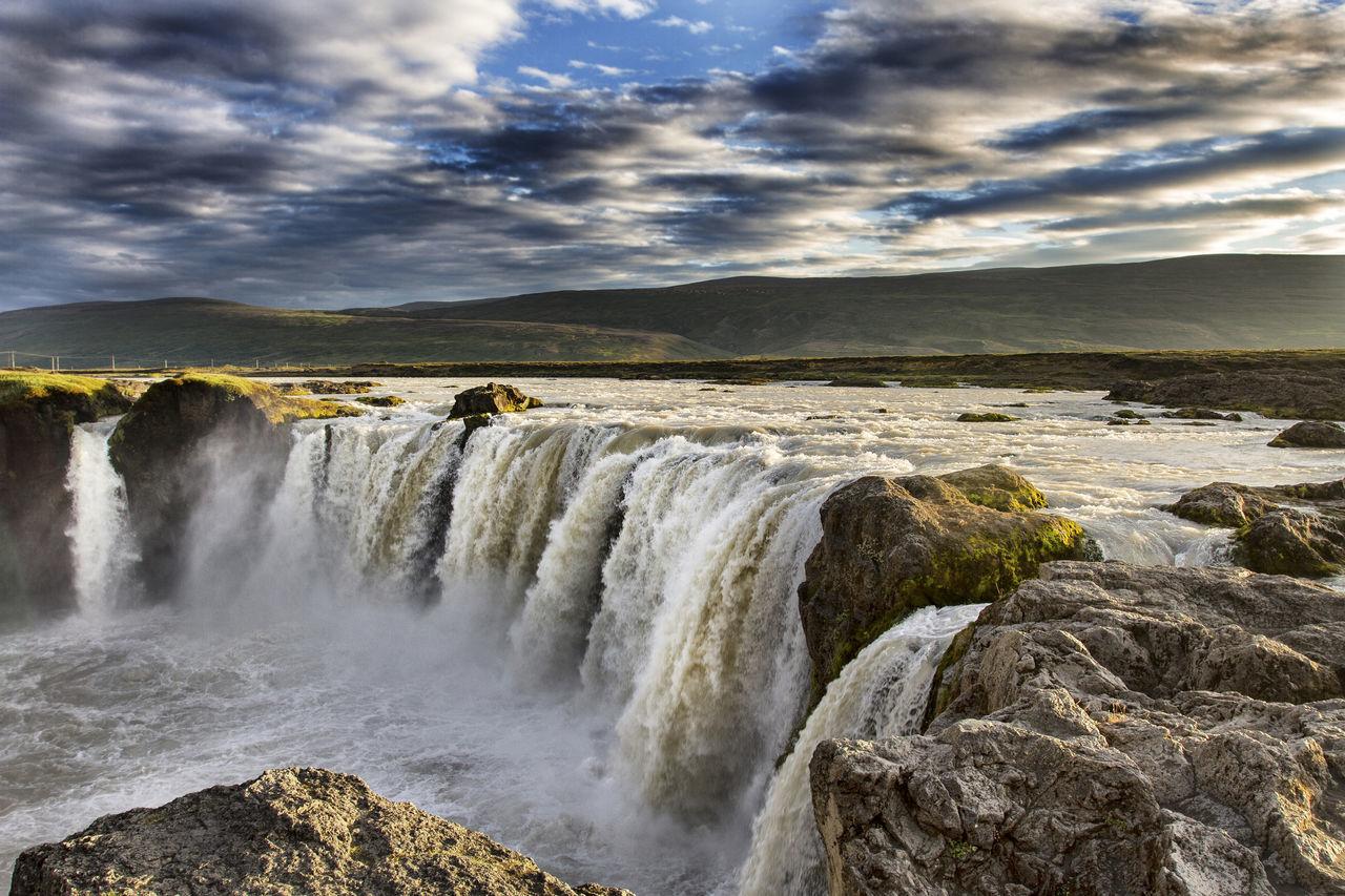 Iceland, Godafoss Godafoss Goðafoss Iceland Landscape Laugar Rock Skjálfandafljót Sky Wasserfall Water Waterfall