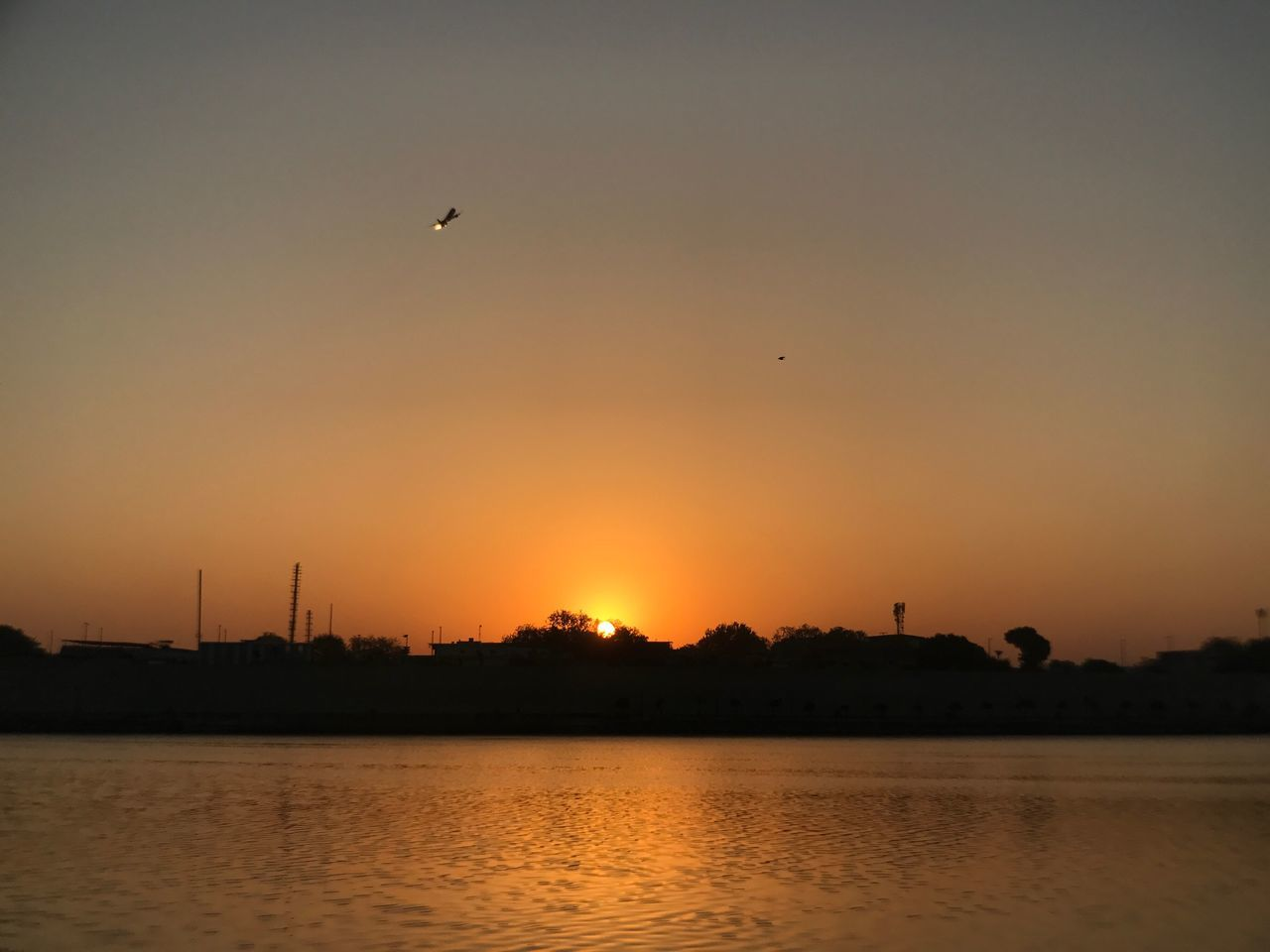 sunset, flying, bird, water, silhouette, orange color, nature, animals in the wild, beauty in nature, no people, waterfront, animal themes, sky, river, animal wildlife, outdoors, mid-air, scenics, one animal, architecture, built structure, travel destinations, tree, building exterior, spread wings, city, day