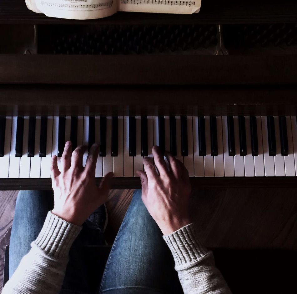 Beautiful stock photos of keyboard, Arts Culture And Entertainment, Cropped, High Angle View, Human Finger