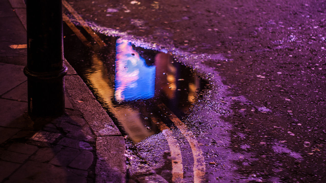 purple, wet, water, outdoors, night, no people, puddle, nature, illuminated, low section, close-up