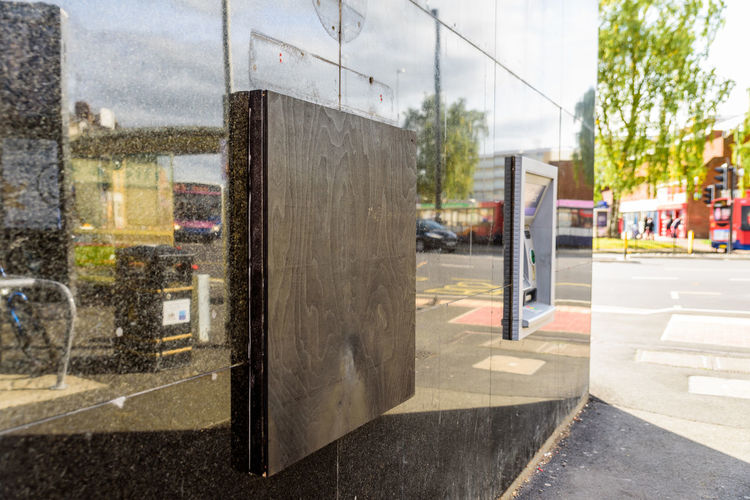 Natwest bank ATM closed down with wooden board Northampton Machine Architecture Atmospheric Mood Bank Building Exterior Built Structure Cash City Day Natwest No People Outdoors Road Sky Street Transportation