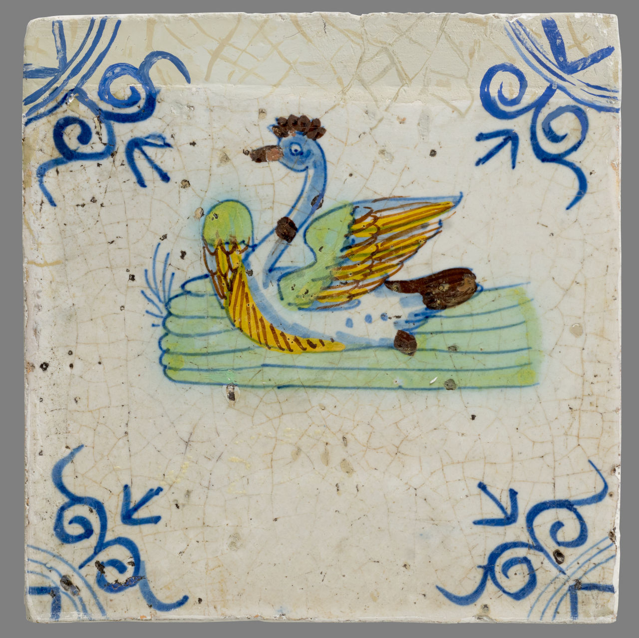 16th Century 17th Century 18th Century Animal Representation Animal Themes Bird Ceramics Multi Colored Netherlands Tile