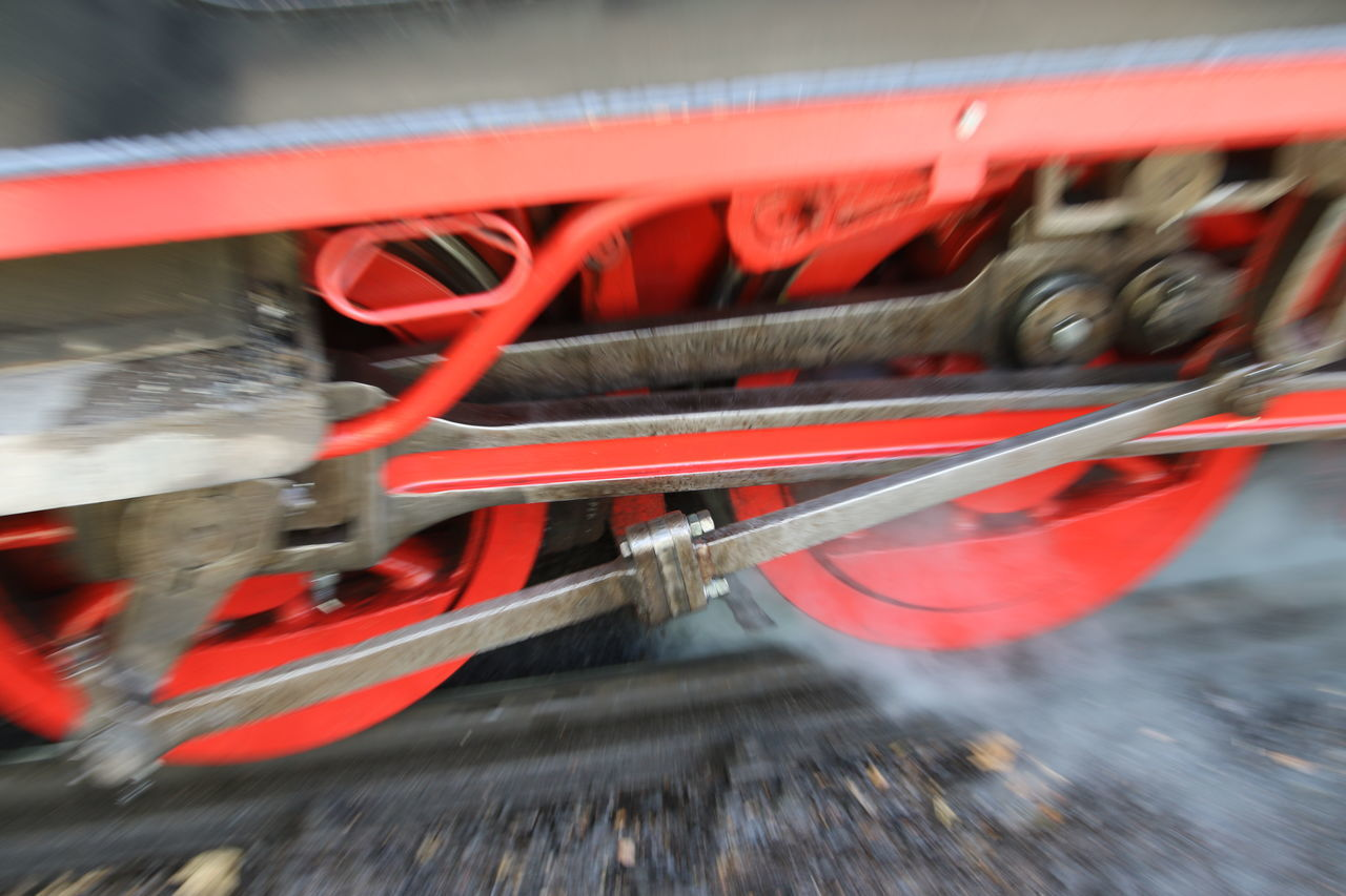 Blurred Motion Close-up Day Heavy Metal Locomotive Mode Of Transport Motion No People Outdoors Red Speed Steam Engine Tracks Transportation