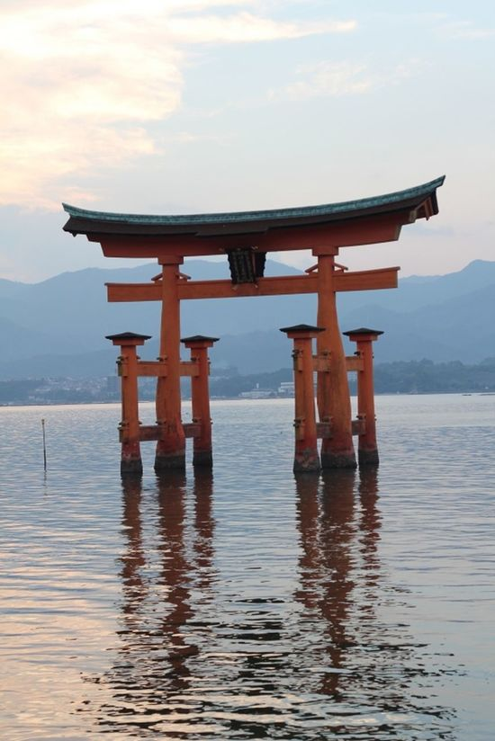 Architecture Beauty In Nature Built Structure Day Hiroshima -Miyajima Hiroshima,japan Itsukushima Shrine Japan Japanese Culture Miyajima Miyajima Torii Nature No People Outdoors Place Of Worship Red Reflection Religion Scenics Sky Spirituality TORII Torii Gate Travel Destinations Water