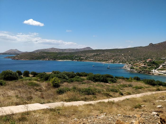 Sounio, Greece, Beach Beauty In Nature Blue Day Grass Greece Landscape Mountain Mountain Range Nature Nautical Vessel No People Oneplusphotography Outdoors Sea Sky Sounio Tranquil Scene Tranquility Travel Destinations Water