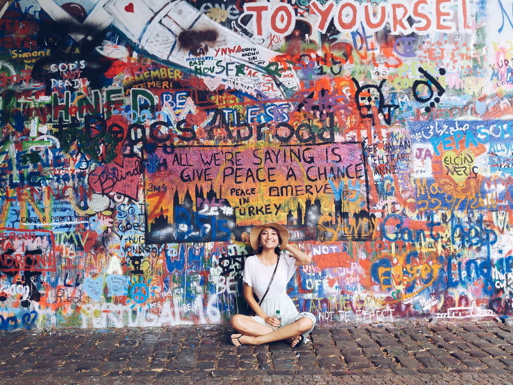 Give peace a chance Showcase July Trip Travel Prague John Lennon's Wall John Lenon Peace Love World Peace Wall Monument Statement Colorful Girl Art