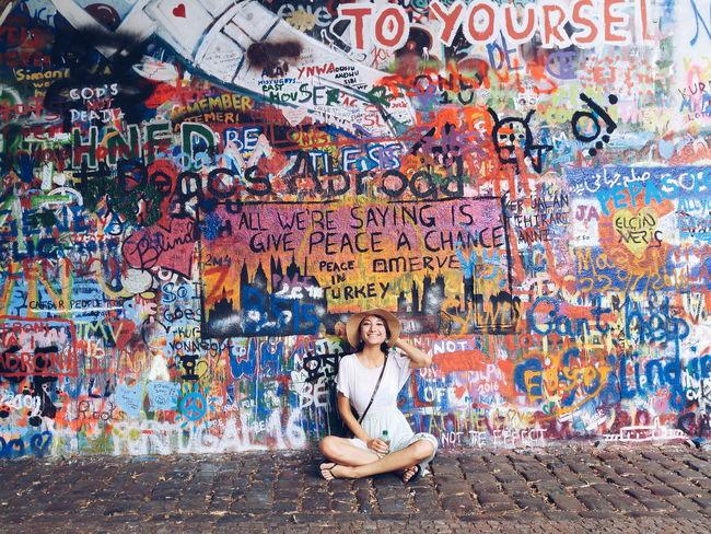 Give peace a chance Showcase July Trip Travel Prague John Lennon's Wall John Lenon Peace Love World Peace Wall Monument Statement Colorful Girl Art