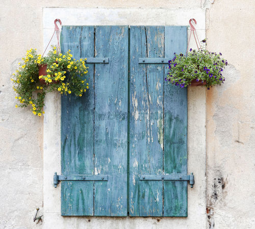 Architecture Blue Building Exterior Built Structure Close-up Closed Day Door Dubrovnik, Croatia Entrance Exterior Flower Hinge No People Outdoors Pots Of Flowers Shutters Summer Town Urban Wall Windows Wood - Material