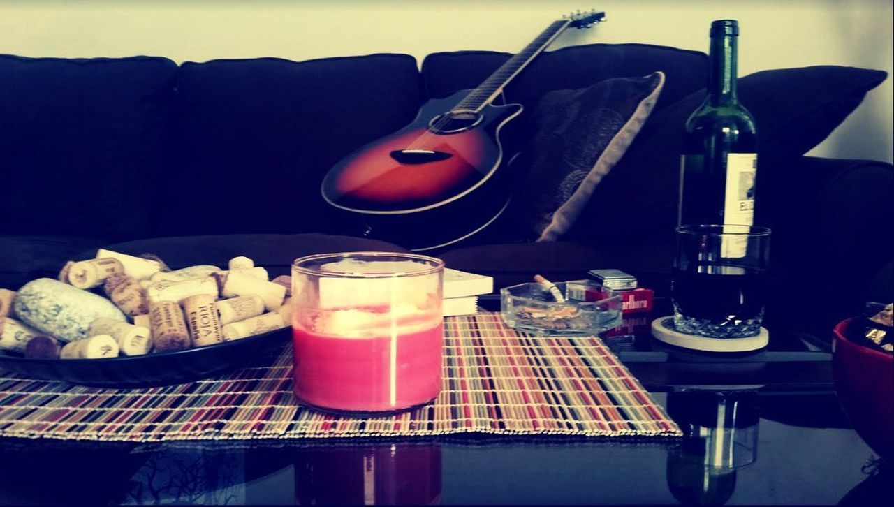 Book And Inspiration Book And Music  Books Candles Guitar Guitar And Can Musical Instrument Wine