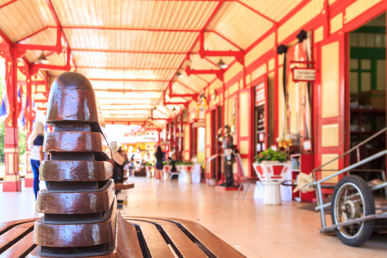 On the platform at Hua Hin train station Architecture Arrival Bench Built Structure City City Life Close-up Commuter Country Countryside Day Indoors  Journey No People Railway Station Railway Station Platform Station Thai Culture Thailand Train Station Travel