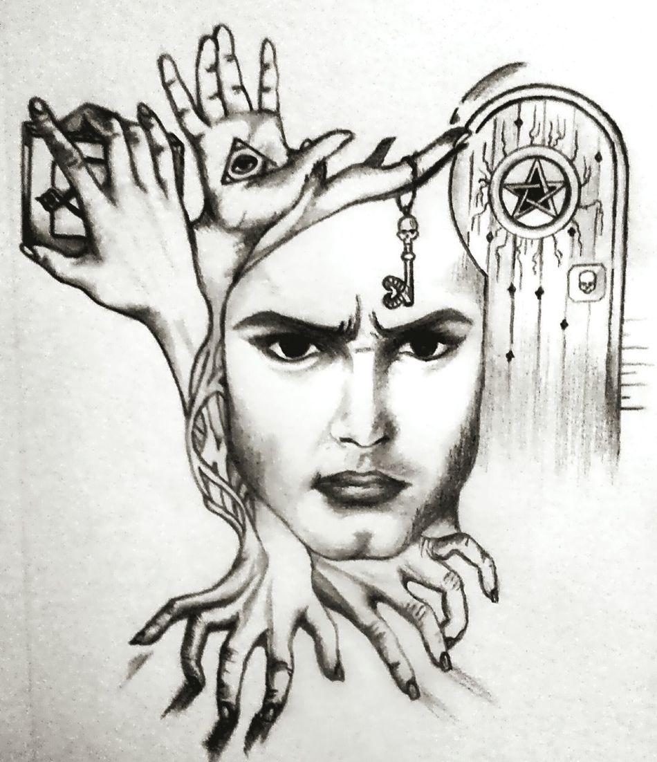 My Draw ♥ Drawing Human Body Part Portrait Human Face Human Hand Men Fresh On Eyeem  Blackandwhite Fiction Symbol