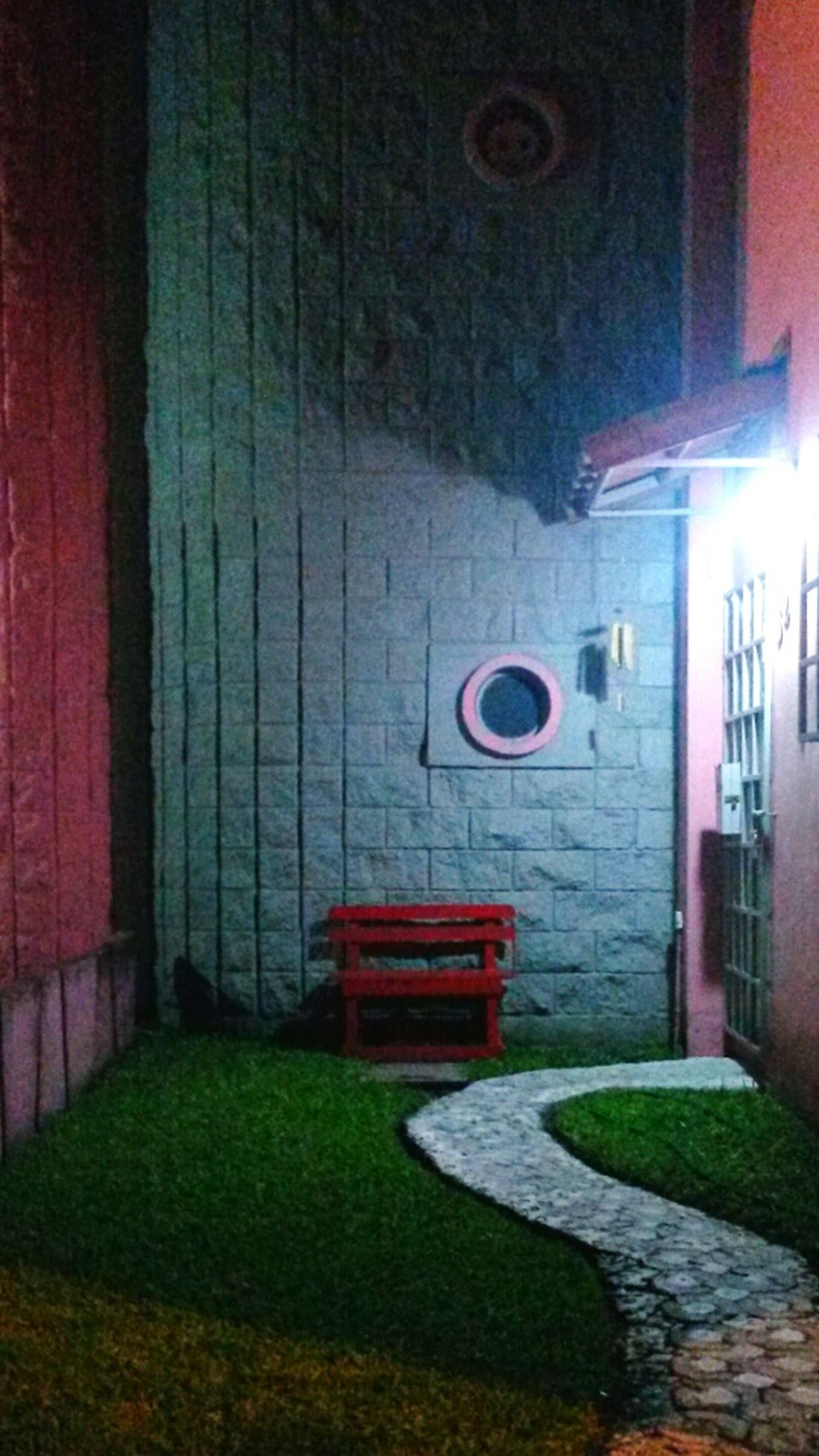 architecture, built structure, building exterior, wall - building feature, green color, grass, red, window, door, house, absence, closed, wall, no people, lawn, day, indoors, brick wall, empty, entrance