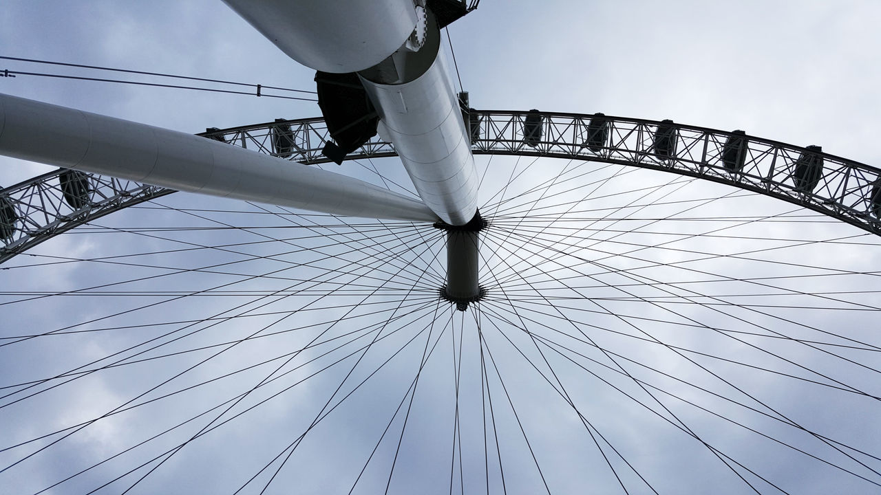 Amusement Park Amusement Park Ride Architecture Cable Day London Eye Low Angle View No People Outdoors Sky