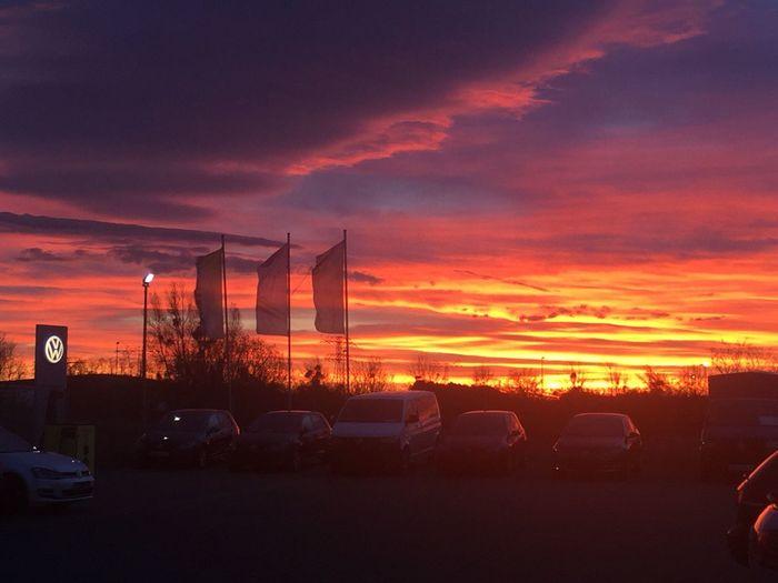 EyeEmNewHere Car Sky Orange Color Volkswagen 7am Morning Skies sunrising nearby Blankenburg