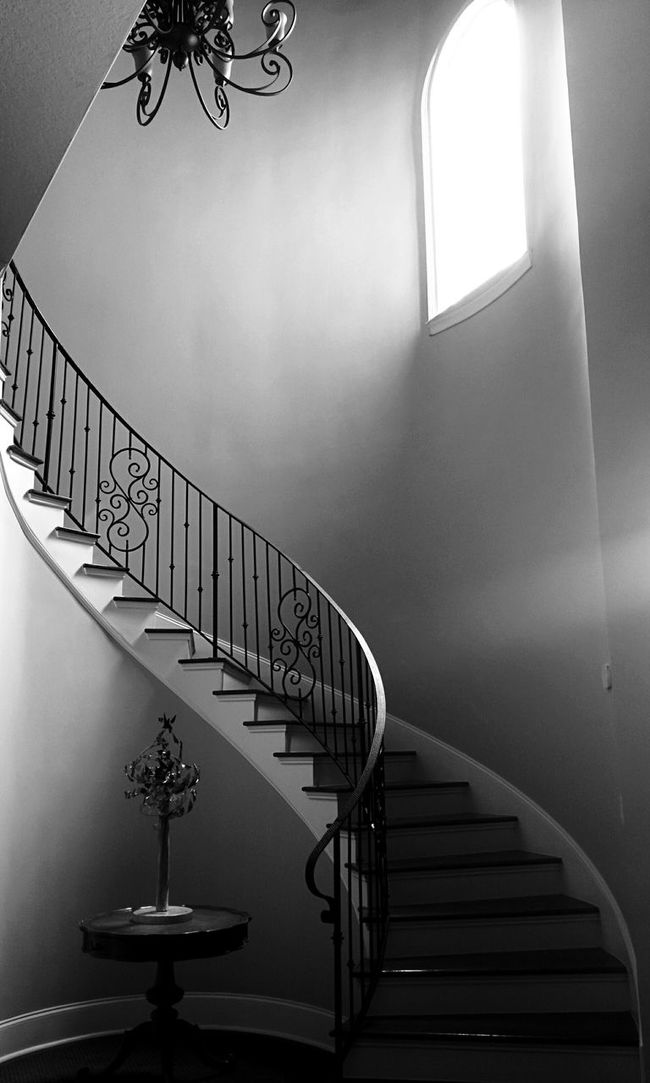 Staircase Ascending Playing With The Light Wrought Iron Window At Work Playing With Angles