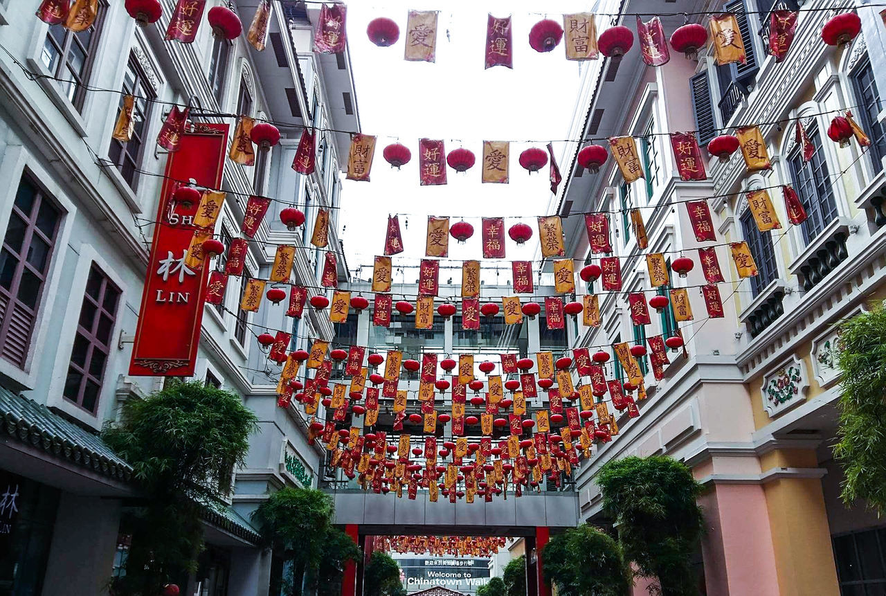 Chinatown Celebration Built Structure Red Architecture Hanging Building Exterior Outdoors Cultures Chinese Lantern Chinese Lantern Festival No People Chinese New Year Low Angle View Celebration Event Tree Text City Sky Non-western Script Day