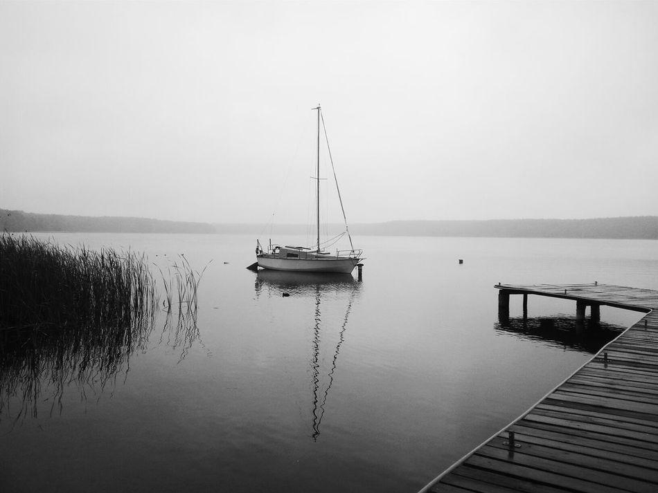 Lake Sailing Boat Poland Landscape B&w PhonePhotography Mobilephotography EyeEm Fog EyeEm Best Shots