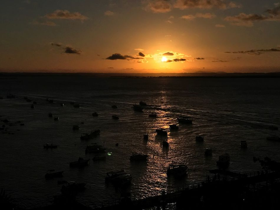 Sunset Sea Sun Orange Color Scenics Horizon Over Water Tranquil Scene Tranquility Idyllic EyeEmNewHere Sunset_collection Morro De São Paulo