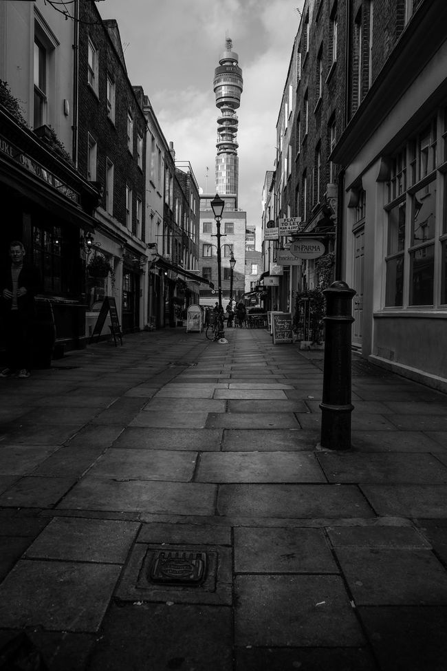 The post office tower. A once huge part of the skyline Architecture Black & White Blackandwhite Contrast Eye4photography  EyeEm Best Shots Fujixt1 London Monochrome Post Office Tower Seeing The Sights Showcase: November Street Tower Xt1