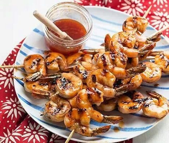 grilled shrimp with sauce. ...simple Food but so Delicious ♡ . ... Enjoying A Meal ..