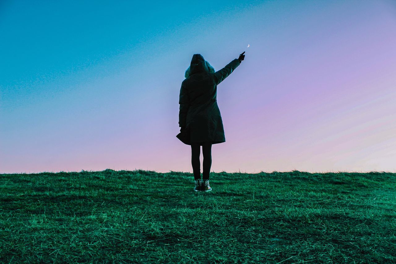 If you can dream it, you can do it 🌙 One Person Real People Full Length Clear Sky Green Color Field Lifestyles Outdoors Standing Silhouette Nature Day Low Angle View Sky Grass Men Landscape Women Beauty In Nature