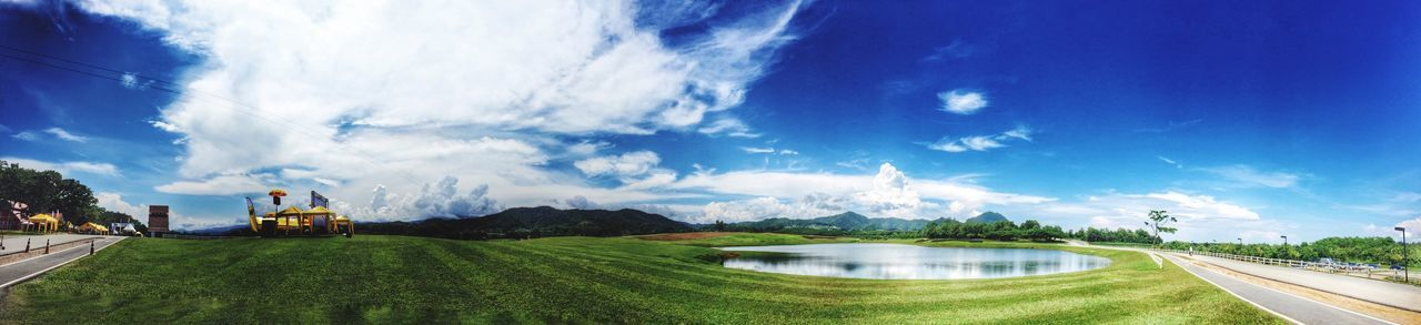Singha Park Chiang Rai Province, Thailand Panorama Panoramic Green Clouds And Sky Field Blue Sky Lake Clean Day Light Natural Light IPhoneography EyeEm Best Shots EyeEm Nature Lover EyeEm Camera Roll