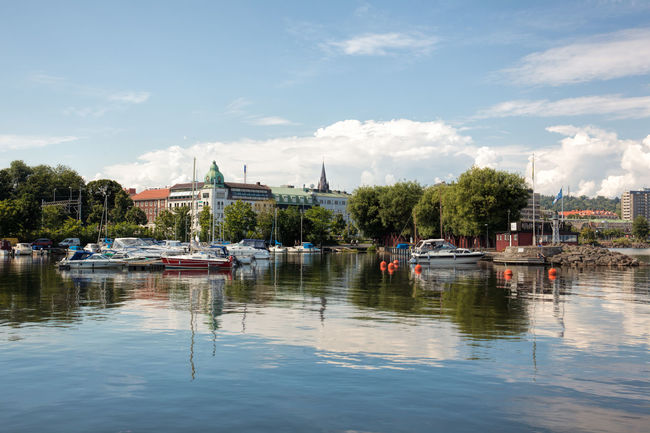Jonkoping, Sweden - Jul 24, 2016 : Scene of the beautiful Jonkoping city, which is situated by the end of the huge lake Vattern. Vattern is the second largest lake in Sweden and the sixth largest one in Europe. Boat City Destination Europe Jönköping Jönköping, Sweden Jönköping,Sweden Lake Nautical Vessel Nordic Countries Outdoors Scandinavia Summer Sweden Travel Vättern Water