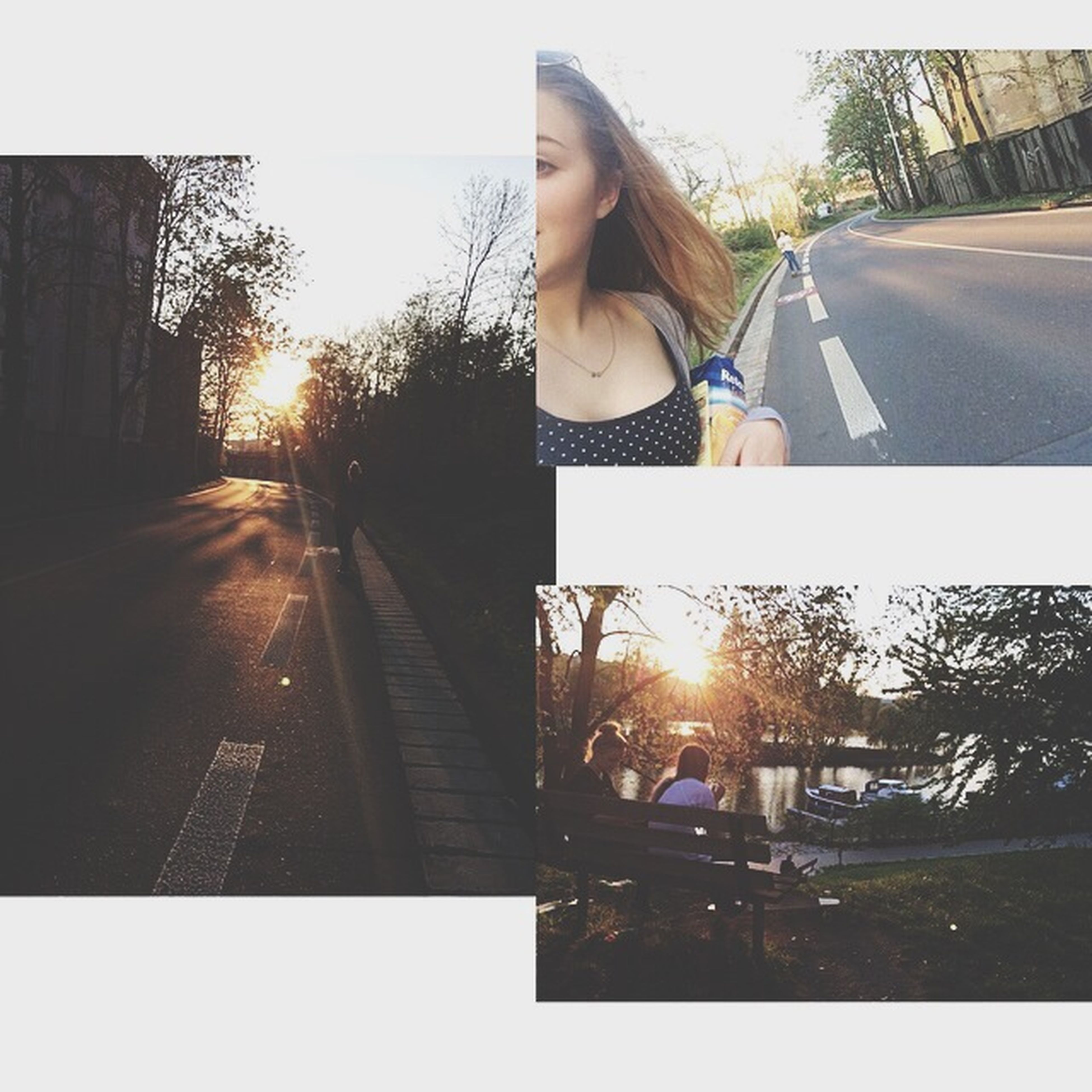 sun, sunlight, sunbeam, lens flare, lifestyles, sunset, leisure activity, tree, sunny, transportation, street, road, car, clear sky, outdoors, bright, transfer print, sky