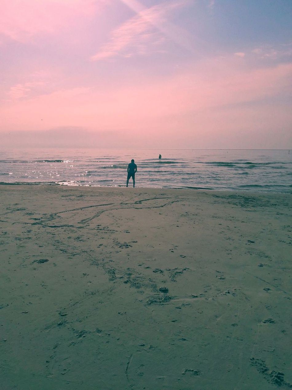 Beach Sea Sand Full Length Sky Sunset Horizon Over Water Vacations Silhouette Landscape Water Outdoors Travel Destinations Beauty In Nature Tranquility Standing Klaipeda