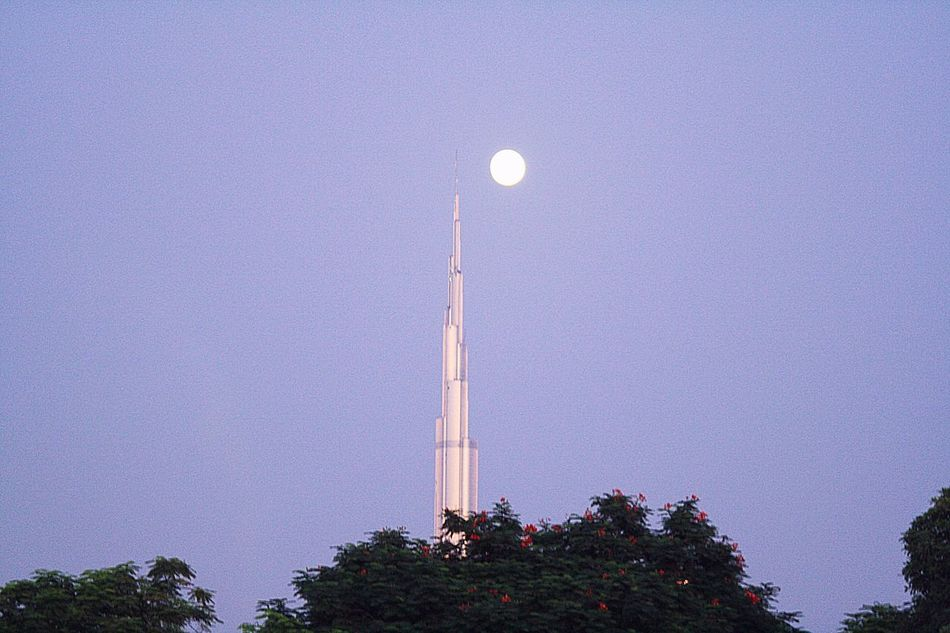 Moon Clear Sky Tree Low Angle View Architecture Night Burj Khalifa EyeEmNewHere The Secret Spaces Break The Mold