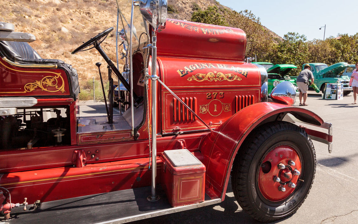 Laguna Beach, CA, USA - October 2, 2016: Red 1931 Seagrave Suburbanite 500 GPM Pumper fire engine owned by the city of Laguna Beach and displayed at the Rotary Club of Laguna Beach 2016 Classic Car Show. Editorial use. 1931 500 GPM Pumper Car Show Classic Car Classic Car Show Classic Fire Engine Fire Engine Laguna Beach Old Fire Engine Red Fire Engine Seagrave Suburbanite Vintage Vintage Fire Engine
