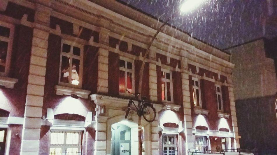 Snowfalling Flyingbike Theater Props Bike Week Redhouse Theater Wintertime Streetlight