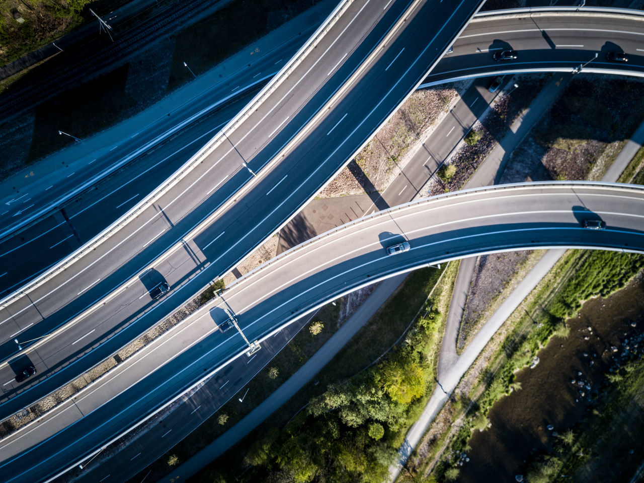 Aerial View Architecture Bridge - Man Made Structure Built Structure City Connection Day EyeEmNewHere High Angle View Highway Light Trail Long Exposure Motion Nature No People Outdoors Road Road Intersection Speed Street Transportation Water