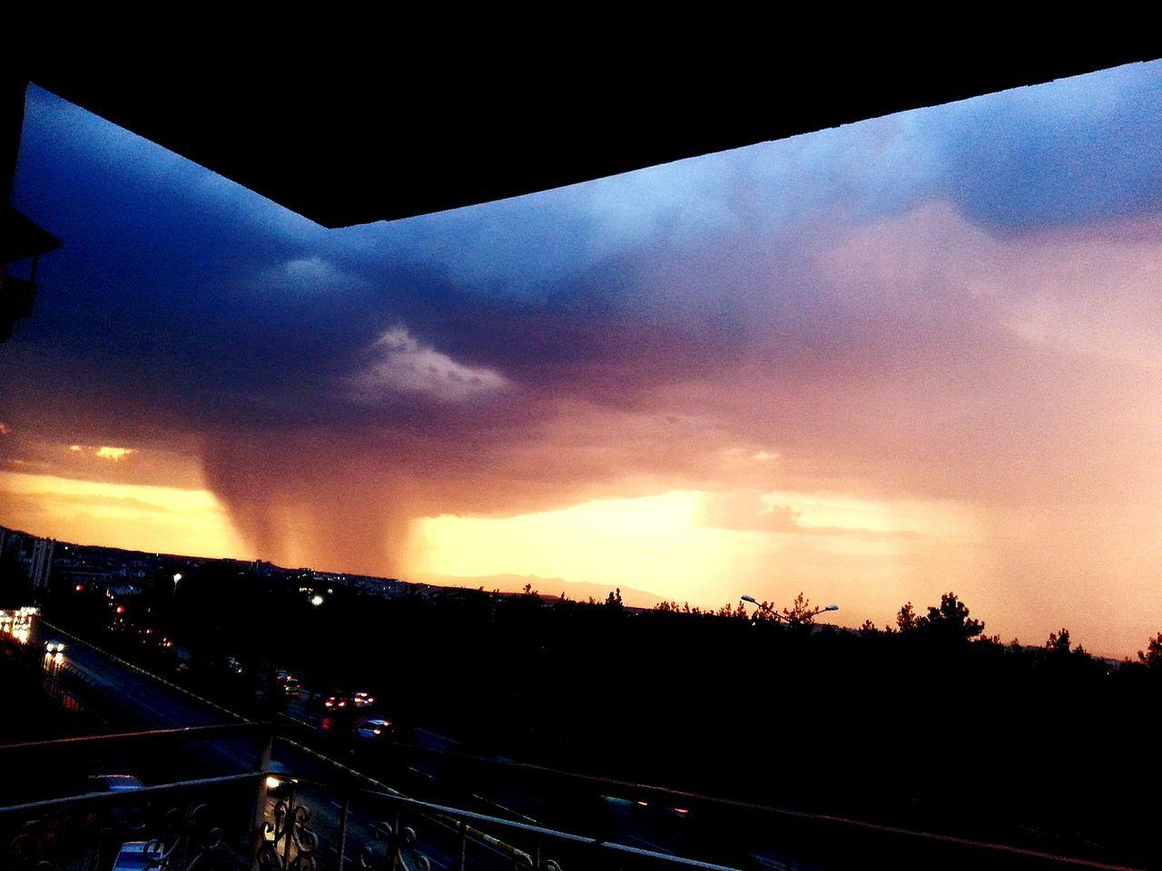 Orange Color Car Sunset Bridge City Cloud - Sky Storm Cloud Rain First Eyeem Photo