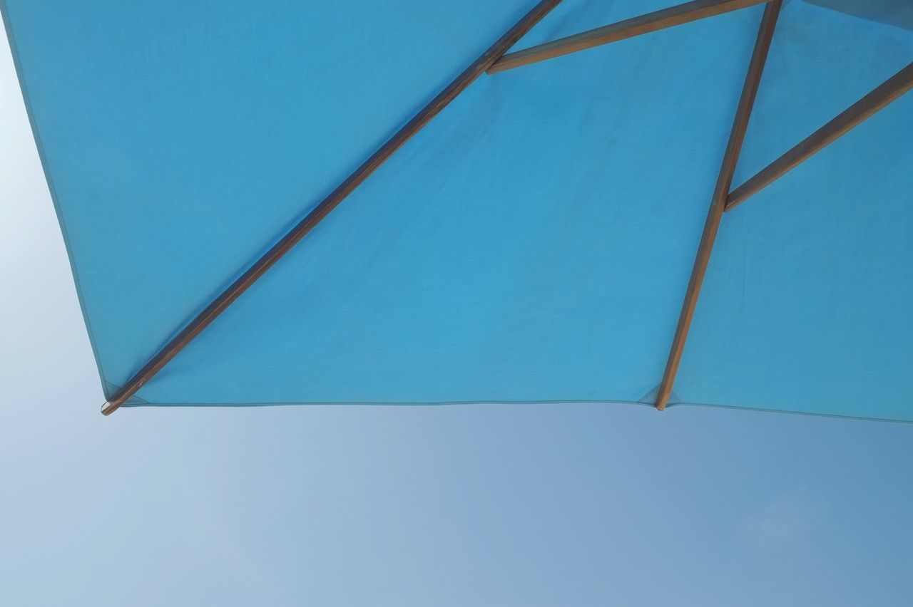 Blue No People Close-up Day Outdoors Umbrella Blend Lookup Minimal Geometric Shape Wood Lines Sky