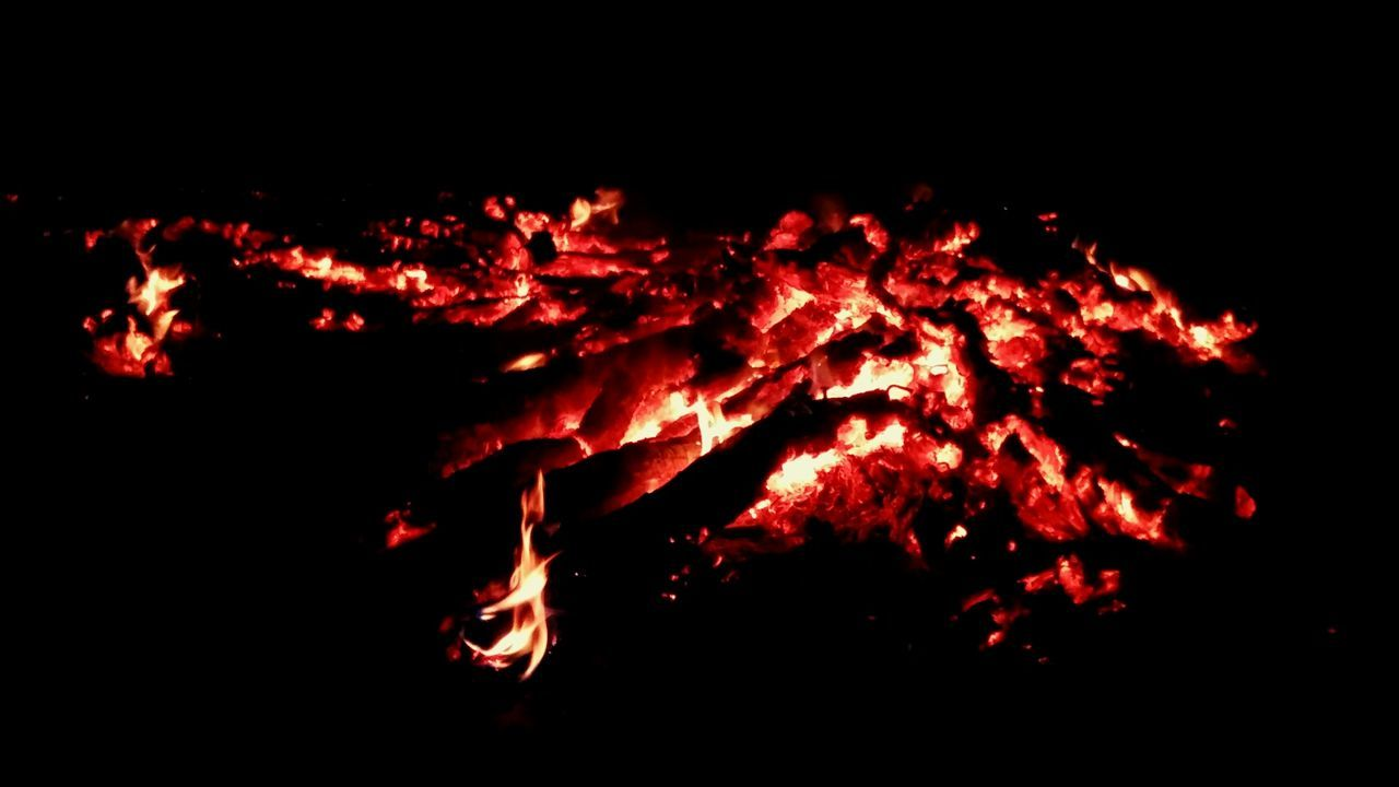 night, flame, heat - temperature, burning, orange color, outdoors, no people, bonfire, close-up, red, nature