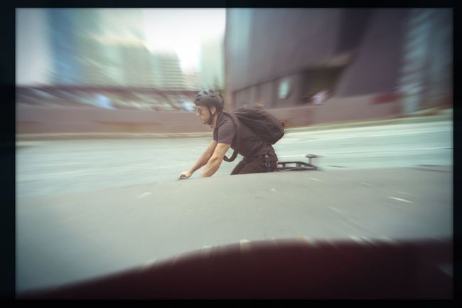 A bridge too far. Auto Post Production Filter Transfer Print Blurred Motion Full Length Lifestyles Motion Leisure Activity On The Move Casual Clothing Transportation Focus On Foreground Outdoors Young Adult Shootermag_usa Photojournalism Documentary Pinhole Photography Hipstamatic