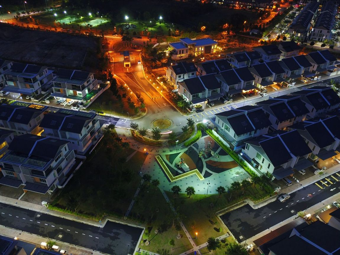 Illuminated Night City Urban Skyline Drone  No People Puchong Kinrara Sunset Sky Housing Area Aerial View High Angle View Architecture Dusk At Home Dusk