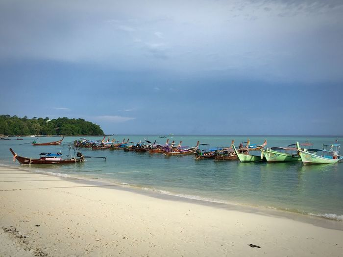 Thailand Sea Beach Nature No People Sand Horizon Over Water Phi Phi Don Day Water Sky Cloud - Sky boats