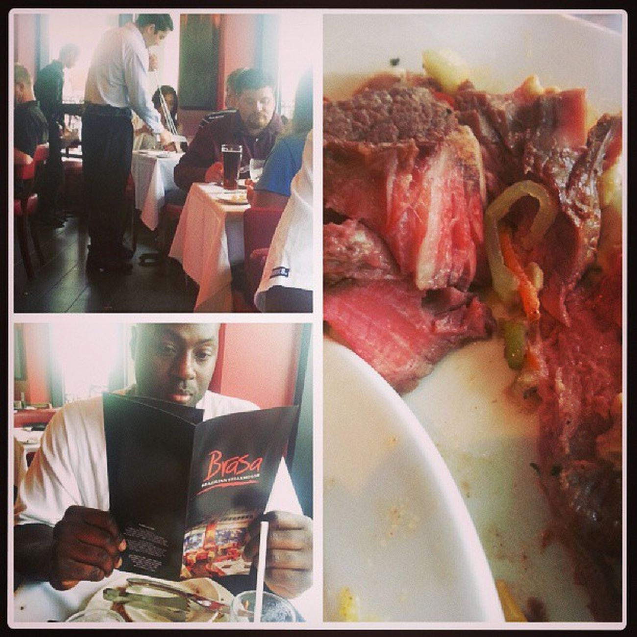 Leighton and I went to our first Brazilian steak house, it was good but some of the meat was too undercooked for me. Brasa BrazilionSteakHouse Hiltonhotel UnderCooked ILikeMyMeatWELLDone
